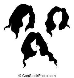 vetorial, conjunto cabeça, silhuetas, femininas