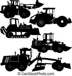 vetorial, construção, equipment., jogo, estrada, silhuetas, ilustração
