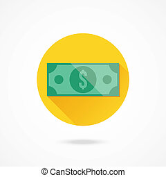 vetorial, conta dólar, ícone