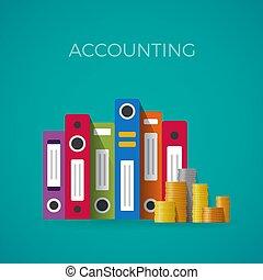 vetorial, contabilidade, conceito, em, apartamento, estilo