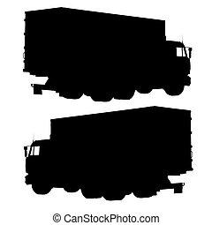 vetorial, container., caminhão, illustration., silhouette.