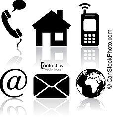 vetorial, contato, ícones