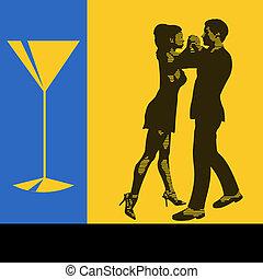 vetorial, coquetel, menu, dançarinos, dança, ilustração, voador, fundo, par, evento