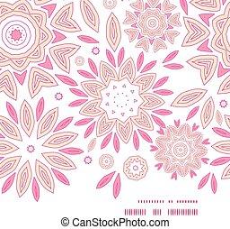 vetorial, cor-de-rosa, abstratos, flores, horizontais, quadro, seamless, padrão, fundo
