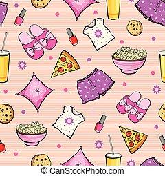 vetorial, cor-de-rosa, partido slumber, alimento, objetos,...