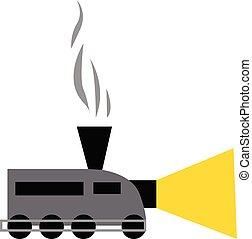 vetorial, cor, ilustração, trem, ou, chaminé