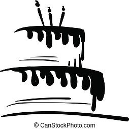 vetorial, cor, velas, ilustração, desenho, aniversário, pretas, bolo, branca, quadro, ou, celebração