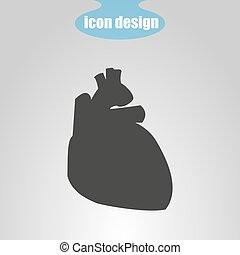 vetorial, coração, ícone, cinzento, human, ilustração, experiência.