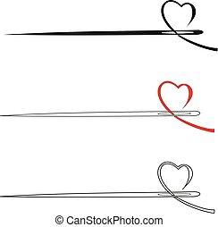 vetorial, coração, agulha, ícone