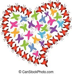 vetorial, coração, amor, de, borboletas