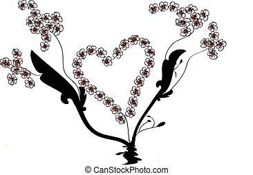 vetorial, coração, e, flor, videiras