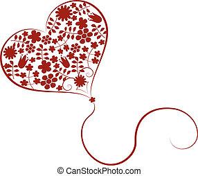 vetorial, coração, flores