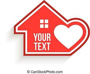 vetorial, coração, gráfico, interior., casa