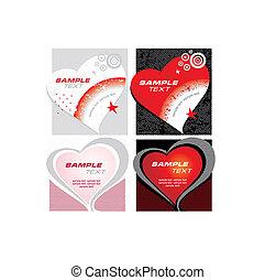 vetorial, coração, jogo, cartões
