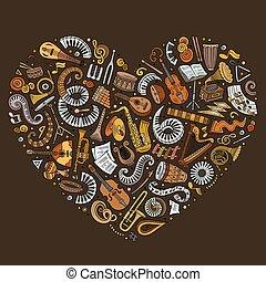 vetorial, coração, jogo, clássicas, instrumentos, caricatura, objetos, doodle, coletado, musical