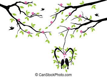 vetorial, coração, ninho, árvore, pássaros