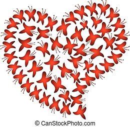 vetorial, coração vermelho, amor, borboletas