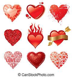 vetorial, corações, diferente, jogo, valentines