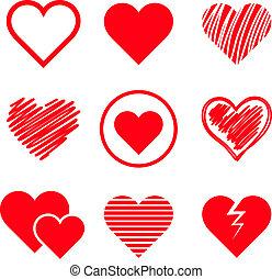 vetorial, corações, jogo
