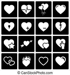 vetorial, corações, jogo, pretas, ícone