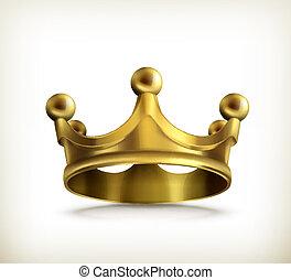 vetorial, coroa, ouro