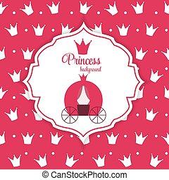 vetorial, coroa, princesa, fundo, illustration.