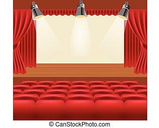 vetorial, corredor, ilustração, cinema
