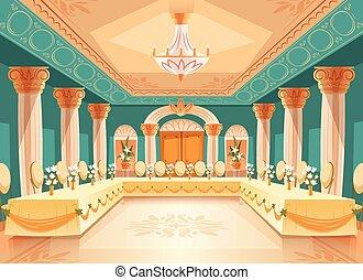vetorial, corredor, para, banquete, interior, de, salão...