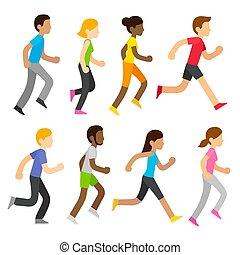 vetorial, corredores maratona