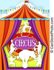vetorial, corte, cartaz, circo, papel, desenho, modelo