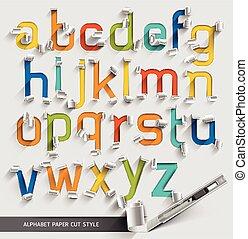 vetorial, corte, illustration., coloridos, alfabeto, papel, fonte, style.