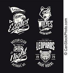 vetorial, coruja, bikers, t-shirt, lobo, clube, isolado, logotipo, leopardo, set., águia, vindima