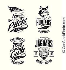 vetorial, coruja, bikers, t-shirt, lobo, clube, isolado, logotipo, onça pintada, set., águia, vindima