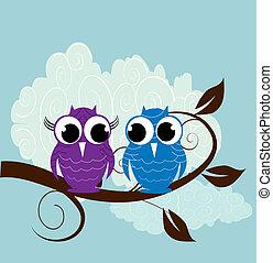 vetorial, coruja, cute, ilustração, dois