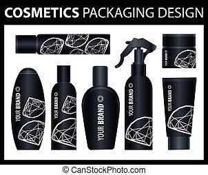 vetorial, cosmético, pacotes