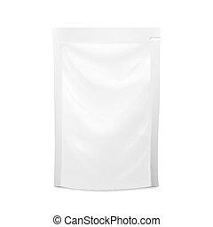 vetorial, cosmetics., pouch., illustration., alimento, doypack, isolado, packaging., embalagem, saco, puree, bebida, modelo, em branco, branca, plástico, spouted, design.