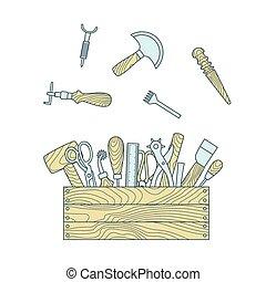 vetorial, couro, ilustração, arte, toolbox, ferramentas