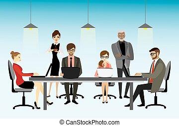 vetorial, coworking, conceito, centro, ilustração
