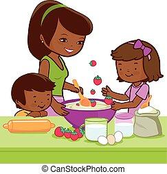 vetorial, cozinhar, mãe, kitchen., ilustração, crianças