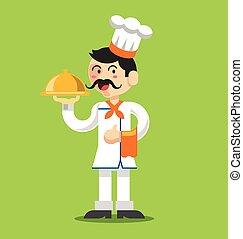 vetorial, cozinheiro, apartamento, ilustração