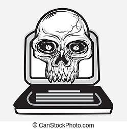 vetorial, cranio, caderno