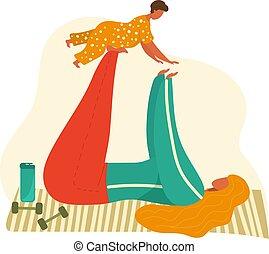 vetorial, criança, bebê, mãe, exercícios, caricatura, saúde, white., ioga, isolado, ilustração, acoplado, junto, mãe, desporto, pose