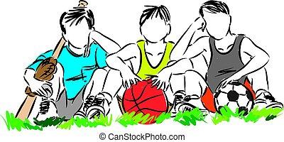 vetorial, crianças, ilustração, esportes