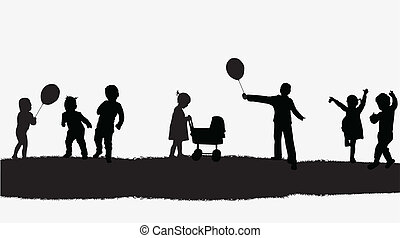 vetorial, crianças, ilustração, natureza