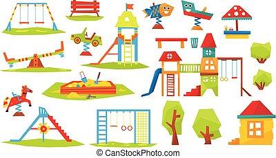 vetorial, crianças, ilustração, pátio recreio