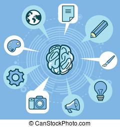 vetorial, criatividade, conceito, -, cérebro, e, ícones