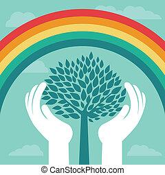 vetorial, criativo, conceito, com, arco íris, e, árvore