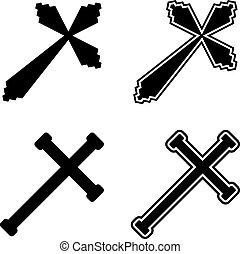vetorial, cristão, cruzes