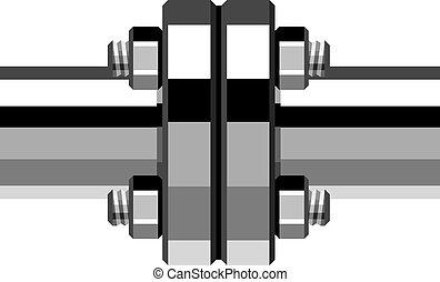 vetorial, cromo, cano, flange