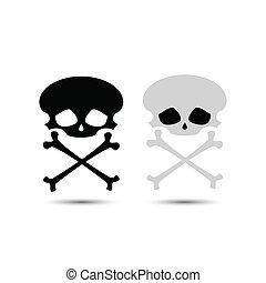 vetorial, crossbones crânio